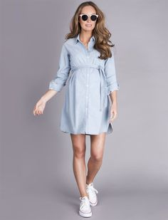Seraphine Justine Chambray Maternity Dress #maternity #ad