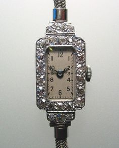 antique and vintage ladies watches | Superb Antique Platinum Diamond Ladies Watch Art Deco from ...