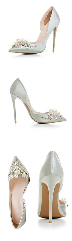 Material:Silk Fabric>You will need this Rhinestone Beads Rivet Stiletto Heels