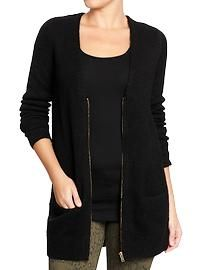 "Women's Zip-Front Boyfriend Cardis - Love the ""borrowed from the boys"" clothing designs!"