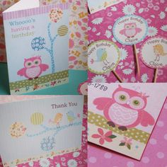 Pottery Barn Brooke Owl and Penelope Bird BIRTHDAY Theme- invites, thank yous, and cupcake toppers. $36.00, via Etsy.