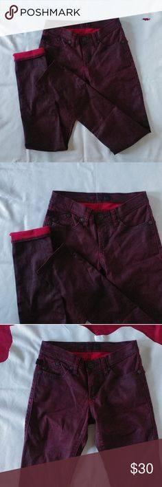 R&R Berlin - Maroon wax coated / leather jeans One of my favorites, just a size too big. Have one in a size down. Love em and always get compliments when I wear them. I love to cuff them so the red pops at the ankle.  BERLIN is more of a slightly relaxed skinny fit. Not a crazy tight or ankle style pant. Each diff body type will define the fit though.  Fabric breaths and is very comfortable. More so a fall/ winter pant than summer though.   Rise - 7.75 inches Waist - 14 ish Hip - 16.5 Inseam…