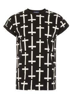 Black Hi Rolled Up Fixed Sleeve T-shirt with All Over Corss Print Detail