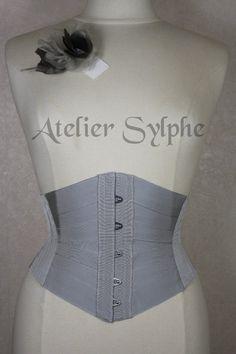 Corset rubans underbust gris taille 57cm par AtelierSylphecorsets