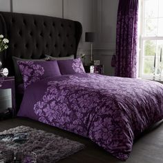 Empire Damask Duvet Quilt Cover Bedding Set | Purple — Linens Range