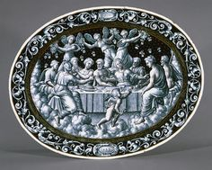 Pierre Reymond, Dish depicting the Wedding Feast of Cupid and Psyche, French, c. 1558