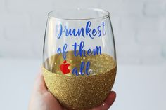 Drunkest of them All // Disney Princess Bachelorette Party Glasses  // Snow White Glass //Disney Wine Glass // Disney Glitter Wine Glass by OhDarlingDrinkware on Etsy