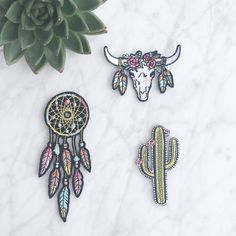 Our Southwestern patches are perfect for adding festival style to just about anything! Set of 3: Dreamcatcher, Cactus, Longhorn. Wildflower + Co. iron on patches.