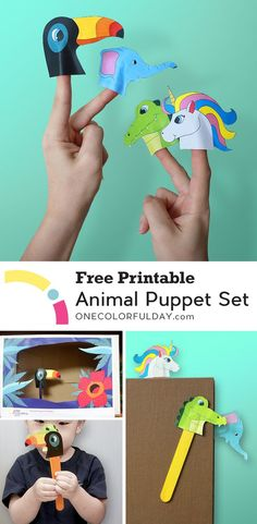 Free printable animal puppets: Unicorn, Alligator, Elephant, and Toucan. Complete with a backdrop that can be glued on to a shoe box. Let your children make and play with these finger puppets on a rainy day.