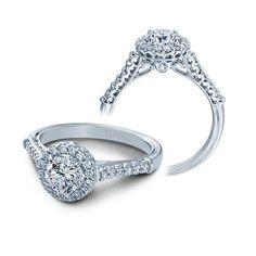 Verragio Classic Diamond Halo Engagement Ring Setting in 14k White & Rose Gold