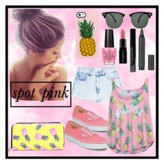 """""""pineapple on pink"""" by janinenugraha ❤ liked on Polyvore featuring Uncommon, Ray-Ban, OPI, Vans, Smashbox, NYX, Topshop, MANGO and Wildfox"""