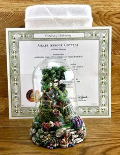 Grape Arbour Cottage Violet Schwenig Franklin Mint Dome Hand Painted ornament Grape Arbor, Arbour, Hand Painted Ornaments, Franklin Mint, Cottage, Frame, Shop, Ebay, Decor