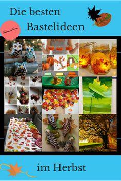 Basteln mit Kindern im Herbst. Hier findest du tolle Bastelideen von Naturmaterialien wie Kastanien und Herbstblätter sowie Wasserfarben oder Knöpfe.