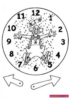 Time Clock coloring picture. And we have brads to make the