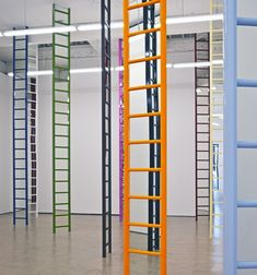 Jim Lambie at The Modern Institute (I didn't notice at first that the ladders contain mirrors)