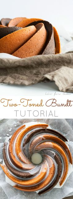 Learn how to do two-toned spirals in the Heritage bundt pan with this detailed tutorial. Cupcake Recipes, Baking Recipes, Cupcake Cakes, Dessert Recipes, Cupcakes, Baking Tips, Just Desserts, Delicious Desserts, Bunt Cakes