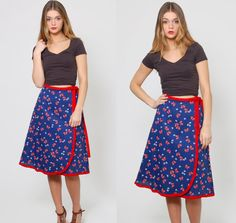 Vintage 70s WRAP Skirt Navy Blue BUTTERFLY Print Novelty Print Skirt by LotusvintageNY
