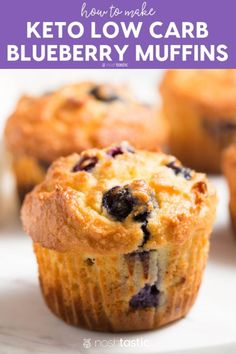 Easy Keto Low Carb Blueberry muffins, the perfect on the go Keto breakfast! - Easy Keto Low Carb Blueberry muffins, the perfect on the go Keto breakfast! My favorite almond flou - Gluten Free Recipes For Breakfast, Healthy Low Carb Recipes, Low Carb Dinner Recipes, Low Carb Breakfast, Low Carb Desserts, Keto Recipes, Dessert Recipes, Lunch Recipes, Breakfast Gravy