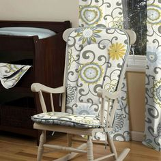 Now I just need to figure out how to use that 6 yards of fabric I ordered... I believe I will use quite a bit recovering the glider and ottoman. Rocking Chair Covers, Rocking Chair Makeover, Rocking Chair Cushions, Diy Chair, Furniture Upholstery, Painted Furniture, Furniture Redo, Baby Nook, Comfortable Accent Chairs