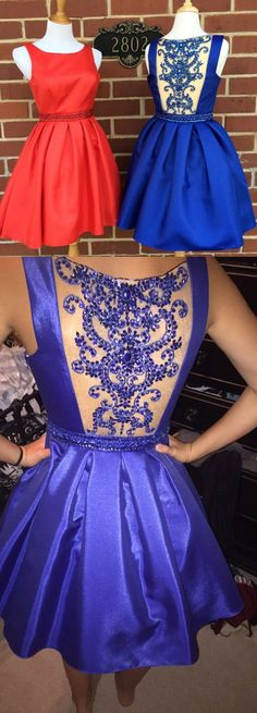 Prom Gown,Short Prom Gown, Beaded Back Prom Dress,Satin