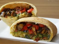 Vegan Calzone with Roasted Vegetables and Creamy Pesto