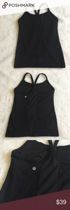 Lululemon Black Tank Top size 8 Preowned lightly worn Lululemon Black Tank Top size 8. Builtin bra, no pads. Please look at pictures for better reference. Happy shopping!! lululemon athletica Tops Tees - Short Sleeve