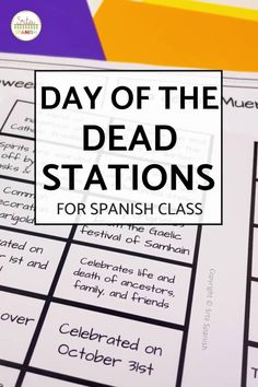 Check out some engaging options for station ideas, cultural activities, and crafts you could include for Day of the Dead Activities for Spanish class! Help your students or kids learn everything about the Day of the Dead with this collection of Día de los Muertos lesson plans and resources. This post is great for any middle or high school Spanish class studying el Día de los Muertos, the Day of the Dead. Class decor, writing activities, games, and more included! Click through to learn more! Spanish Lesson Plans, Spanish Lessons, Spanish Classroom, Teaching Spanish, Middle School Spanish, Class Decoration, Writing Activities, Day Of The Dead, Third Grade