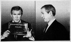 President George Walker Bush, 43rd President of the United States. Prior to his marriage, Bush had multiple episodes of alcohol abuse. In one instance, on September 4, 1976, he was arrested near his family's summer home in Kennebunkport, Maine, for driving under the influence of alcohol. He pleaded guilty, was fined 150$ and had his Maine driver's license suspended until 1978. #mugshot