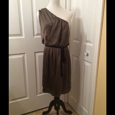 NWT Banana Republic Monogram Size 8 Party Dress Beautiful party dress. 100% silk lining 100% polyester exclusive of decoration. Size 8 Grecian style, side zipper, rope detail belt, gorgeous olive green. NWT retails $150 Banana Republic Monogram Dresses