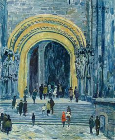 Church Portal - Richard Bloos , 1923 German 1878-1956 Oil on canvas, 73 x 59.5 cm. (28.7 x 23.4 in.)