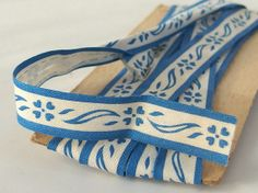 Vintage Blue Flowered White Bias Tape Sewing Notion