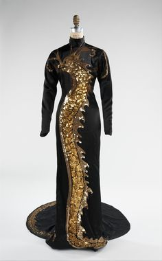 "Evening Dress, Travis Banton (American, 1894–1958): 1934, American, silk, trim. "" It was designed by Banton for Wong's role of Tu Tuan in the 1934 film 'Limehouse Blues.' Wong was a pioneer for Asian-American actors and one of the few actors in general to transition from silent to talking films."""