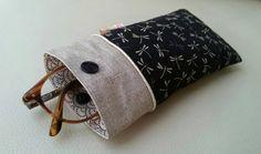 Etui lunettes tissu japonais libellules passepoil doré et lin enduit : Etuis, mini sacs par justinfil