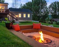 This time of year makes the most sense to have a fire pit in your backyard or outdoor living area. A fire pit with cozy seating area will be a perfect centerpiece of your backyard paradise. For before(Favorite Spaces Outdoor Living) Diy Fire Pit, Fire Pit Backyard, Backyard Patio, Backyard Landscaping, Landscaping Ideas, Backyard Seating, Sunken Patio, Back Yard Fire Pit, Deck With Fire Pit