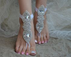 Sandals Summer - Ivory Silver Lace Barefoot Beach wedding barefoot sandals - There is nothing more comfortable and cool to wear on your feet during the heat season than some flat sandals. Foot Jewelry Wedding, Beach Wedding Shoes, Beach Shoes, Beach Weddings, Lace Wedding, Barefoot Sandals Wedding, Barefoot Beach, Blue Sandals, Bare Foot Sandals