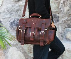 Brown Leather Messenger Bag/ Backpack by WyntopiaLeather on Etsy, $335.00