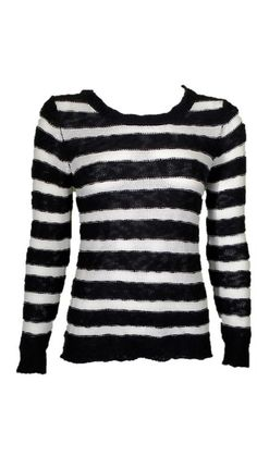 Pink Rose Black and Creme Striped Sweater