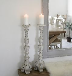 Distressed ornate metal candlestick