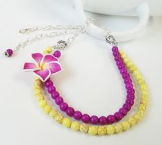 Bright 2 Layered Yellow Purple Turquoise With Soft by BijiBijoux, $33.00