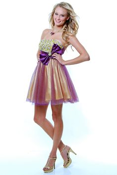 SALE! 2013 Homecoming Dresses Purple & Yellow Extravagant Beaded Strapless Cocktail Dress - Unique Vintage - Prom dresses, retro dresses, retro swimsuits.