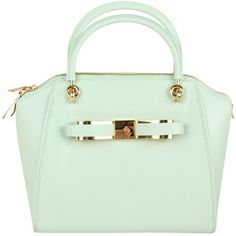 TED BAKER Womens Mint Metal Bow Mini Bowler Leather Bag found on Polyvore
