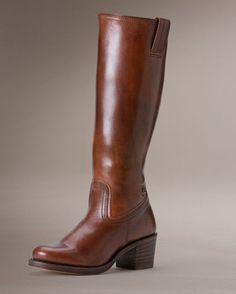 Frye Women's Sabrina Stitch Inside Zip Boot - Dark Brown