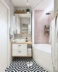 What do you like / dislike about this interior? Bathroom Red, Tiny House Bathroom, Bathroom Design Small, Bathroom Cabinets, Bathroom Interior Design, Modern Bathroom, Bathroom Models, Feminine Bathroom, Beautiful Bathrooms