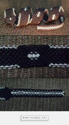 "macrame guitar strap (no splices). it is 43"" long, 2"" wide and has 4 button holes for length adjustment."