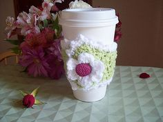 The prettiest mug cosy-A Coffee Cosy for Melissa-free pattern from Sarah Sweethearts