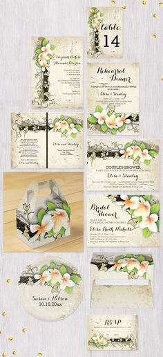 Vintage plumeria or frangipani and ivy custom beige wedding invitations collection that includes wedding bridal and couple's shower invites, Save the Date postcards, stamps, wedding programs, escort...