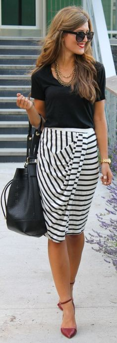 Swell Black And White Striped Drape Midi Skirt by Chic Street Style