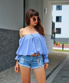 ootd with blue off the shoulder top: http://jointyicroissanty.blogspot.com/2017/08/blue-off-shoulder-shirt.html