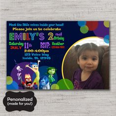 Inside Out invitation,Inside Out,Inside Out invite,Printed invites,Inside Out Party,Anger,Sadness,Joy,MLM71