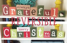 Reversible Fall & Christmas Blocks- Fall Decor, Christmas Decor, Reversible Decor, Fall Blocks, Christmas Blocks, Christmas Sign, Fall Sign by CraftswithasideofYou on Etsy https://www.etsy.com/listing/470143535/reversible-fall-christmas-blocks-fall